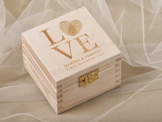 Fingerprint Wood Wedding Ring Bearer Box Rustic door DecorisWedding