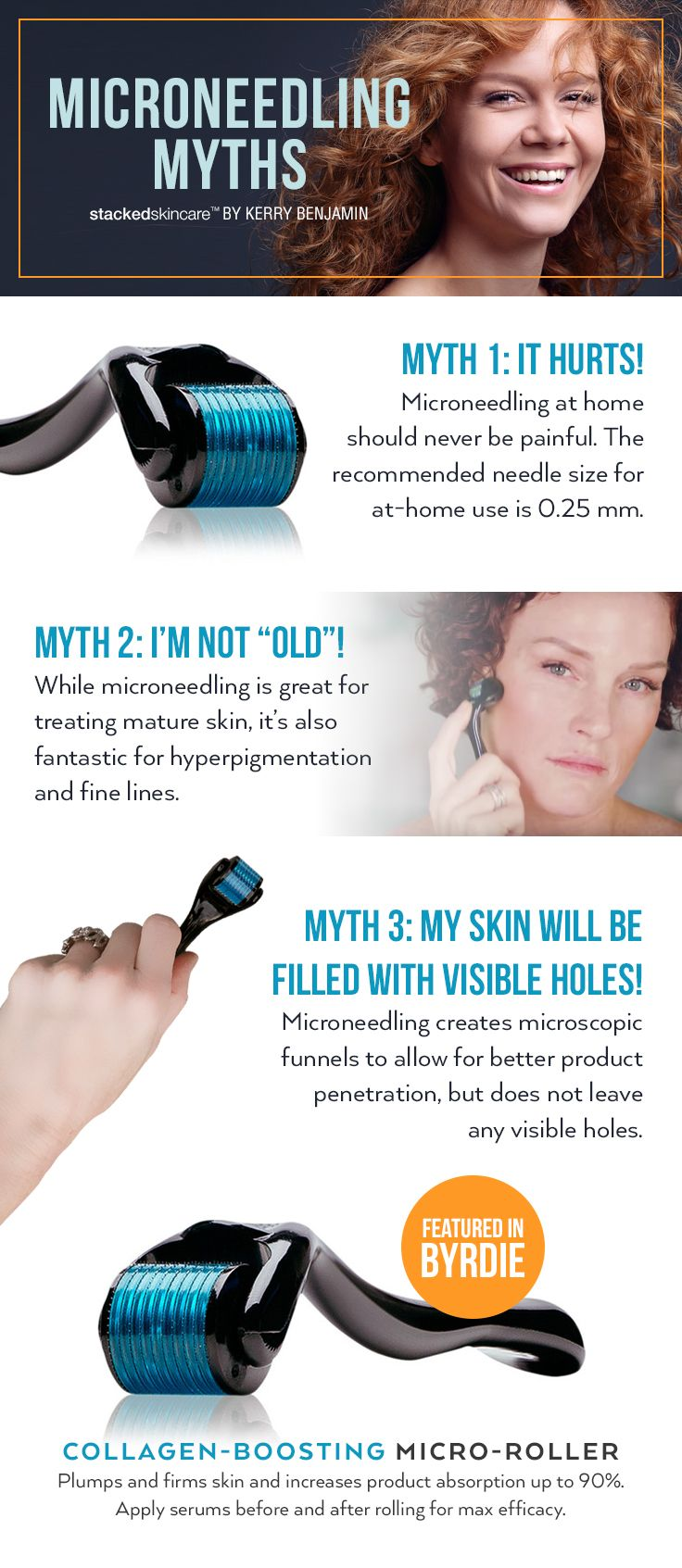 #Microneedling myths debunked. Try our bestselling collagen-boosting micro-roller, now available for $30. #Skincare