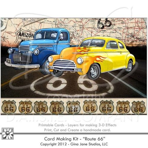 DAISIE COMPANY: Printable Birthday Card Route 66 Vintage Greeting Cards, DIY old Cars theme Printables, Printable Birthday Cards, Digital Paper Crafts, Clipart, Scrapbooking, Stamp, Party - DaisieCompany.com