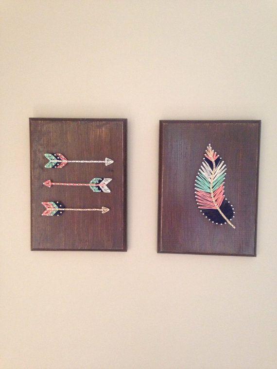 Conjunto de pluma y flecha de arte cadena por my2heARTstrings