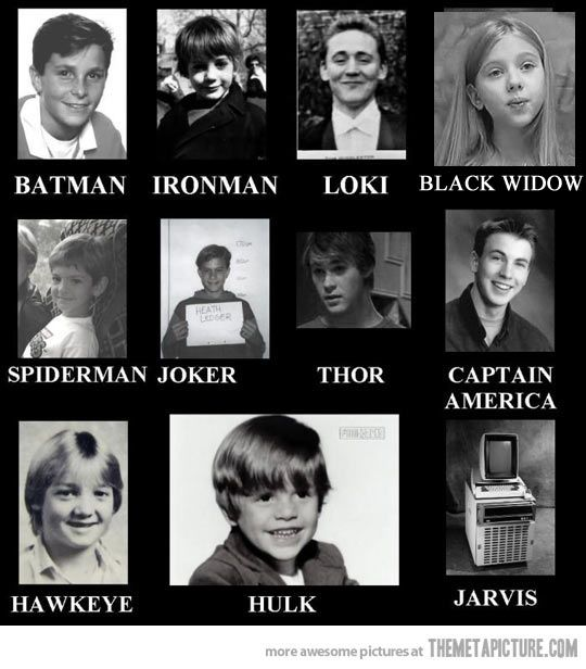 Old Yearbook Photos… Avenger Edition. And batman...