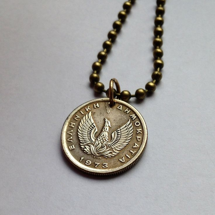 1973 Greece 50 lepta coin pendant necklace jewelry Greek Phoenix mythical legendary bird eagle pattern regenerated reborn ashes No.001023 by acnyCOINJEWELRY on Etsy