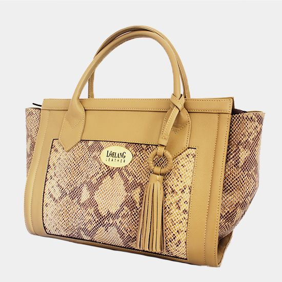 LK 17   Cow Skin with Snake Printed Combination and Tassel   Color: Taupe-Beige