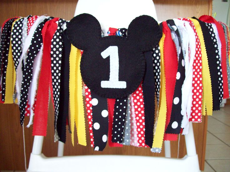Birthday Banner ~Mickey Mouse Party ~Rag Tie banner ~ rag banner ~high chair banner ~cake smash ~photo prop ~nursery decor red black yellow by backyardprims on Etsy https://www.etsy.com/listing/218974690/birthday-banner-mickey-mouse-party-rag