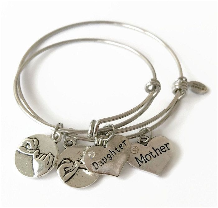 Mother Daughter Expandable Bracelet Set Mother Daughter Jewelry Mother Daughter Charm Bangle Set Mother Daughter Stacking Bracelet Set by JulemiJewelry on Etsy