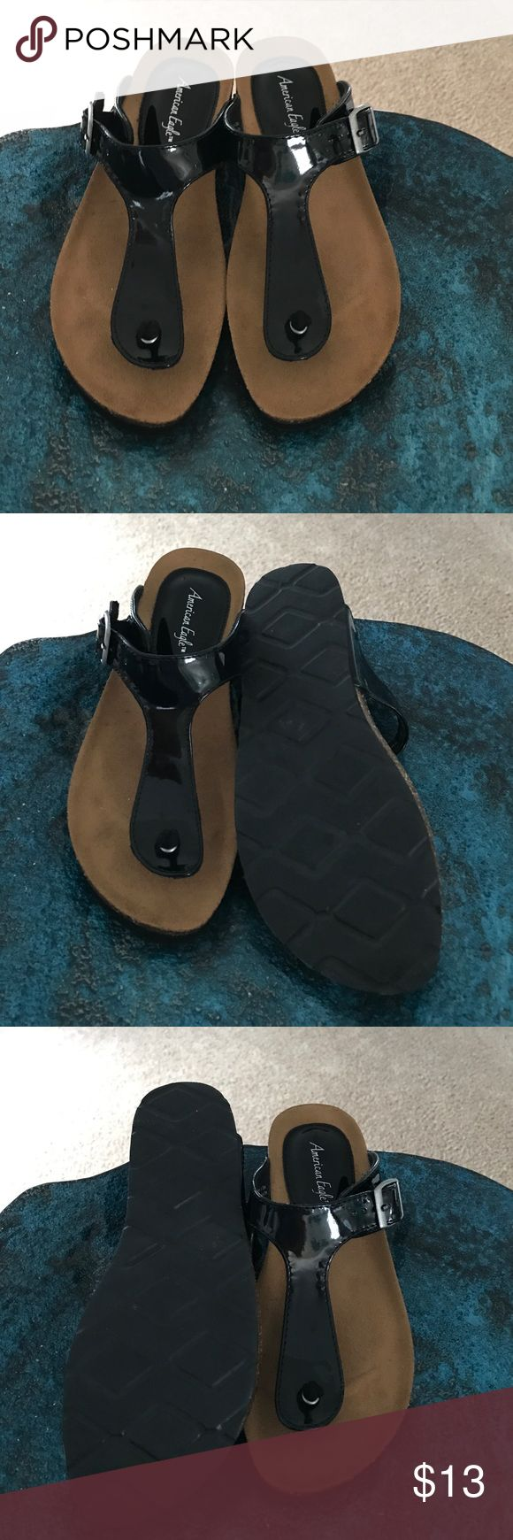 Black Patent Leather Sandals Black patent leather sandals from American Eagle. These cute little sandals are nearly new. They have only been worn a handful of times. American Eagle Outfitters Shoes Sandals