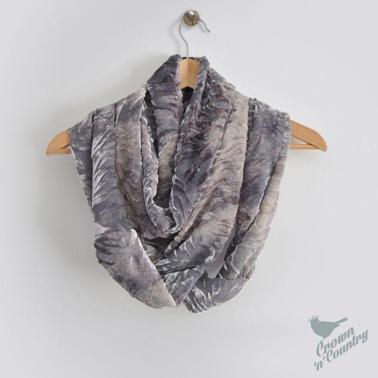 Silver, Grey flame - Silk Devore infinity scarf
