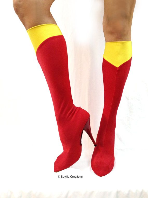Sexy Supergirl Bootlets. Shoe covers. Handmade by SavillaCreations