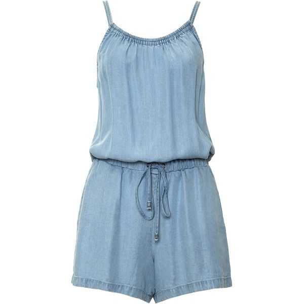 Sleeveless Chambray Romper found on Polyvore featuring jumpsuits, rompers, spaghetti strap romper, chambray romper, blue romper, sleeveless rompers and sleeveless romper