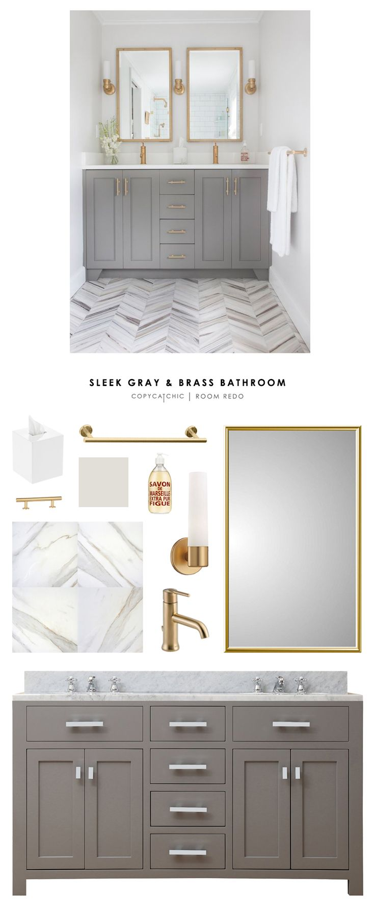 Copy Cat Chic Room Redo | Sleek Gray and Brass Bathroom