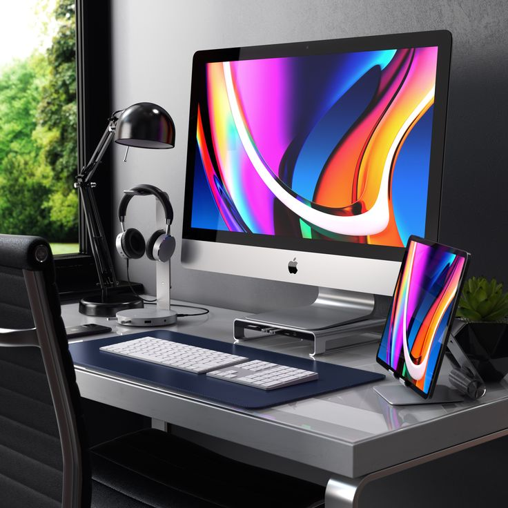 Modern Homeoffice Computer Desk: Workstation, Desk Setup, Modern Tech
