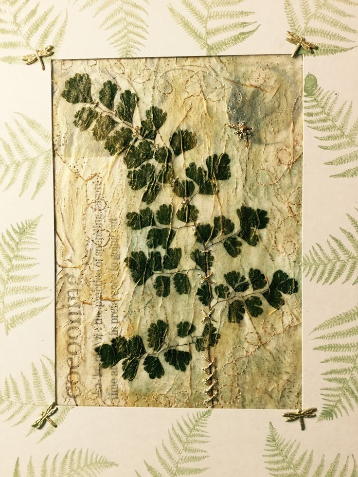 Botanical garden journal cover featuring a maiden hair fern frond. Designed by Sandra Foster. #garden journal #maiden hair fern #mixed media