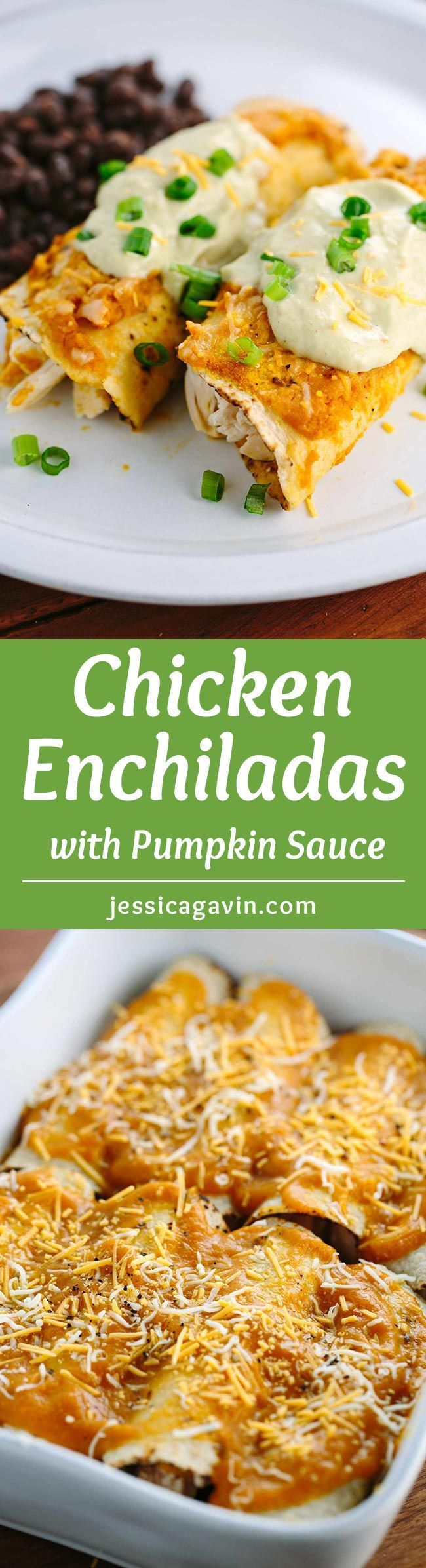 Chicken Enchiladas with Pumpkin Sauce - You'd never know there's pumpkin inside! This delicious recipe is topped with a luscious green chili cream sauce and cotija cheese for added flavor.   jessicagavin.com