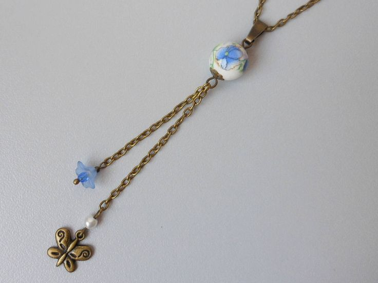 Porcelain bead pendant necklace jewellery, Bronze necklace,Butterfly necklace,Blue flower necklace,Ceramic bead pendant necklace by akcrystalbead on Etsy