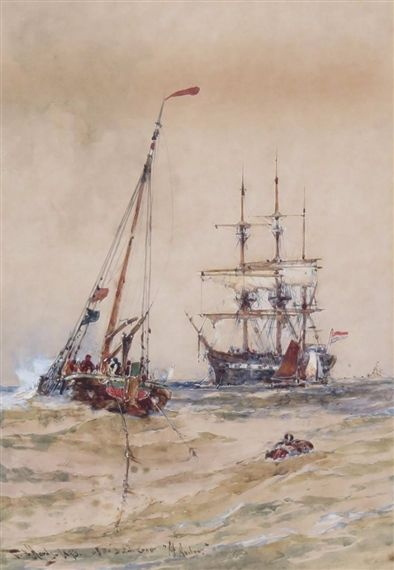 TWO WORKS: ENTRANCE TO PORTSMOUTH HARBOUR; OFF THE DUTCH COAST, AT ANCHOR By Thomas Bush Hardy Dimensions: 10 X 7 in (25.4 X 17.78 cm) Medium: watercolour Creation Date: 1893 Signed