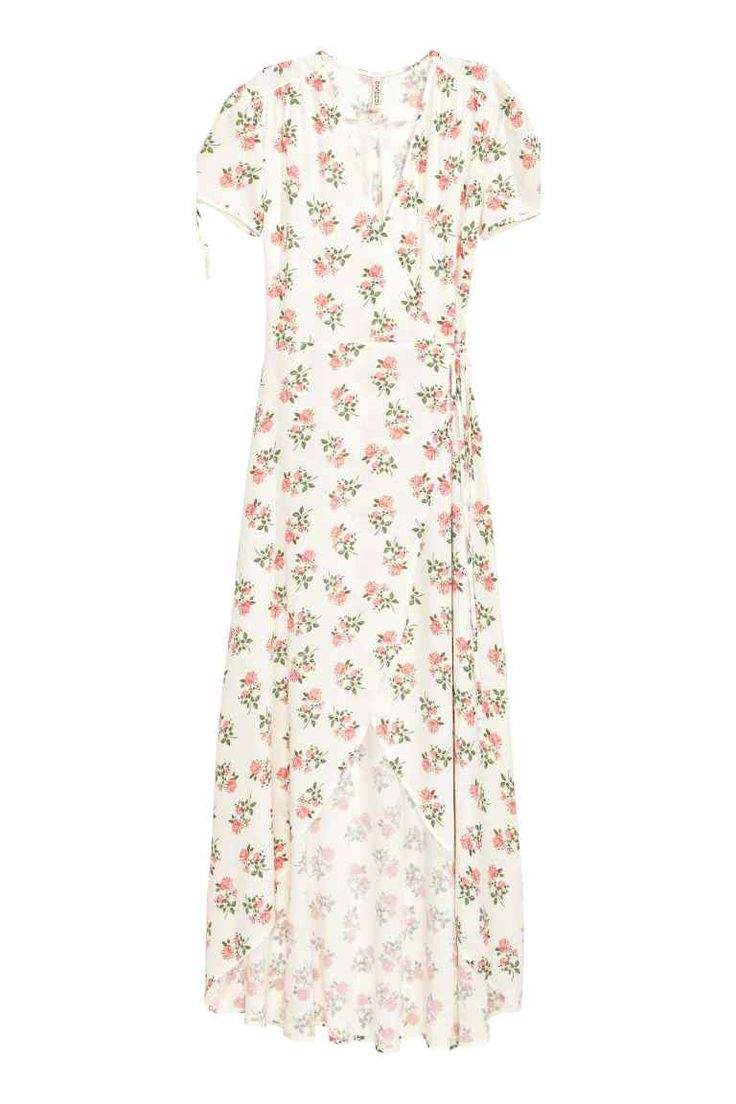 Patterned wrapover dress - White/Floral - Ladies | H&M GB