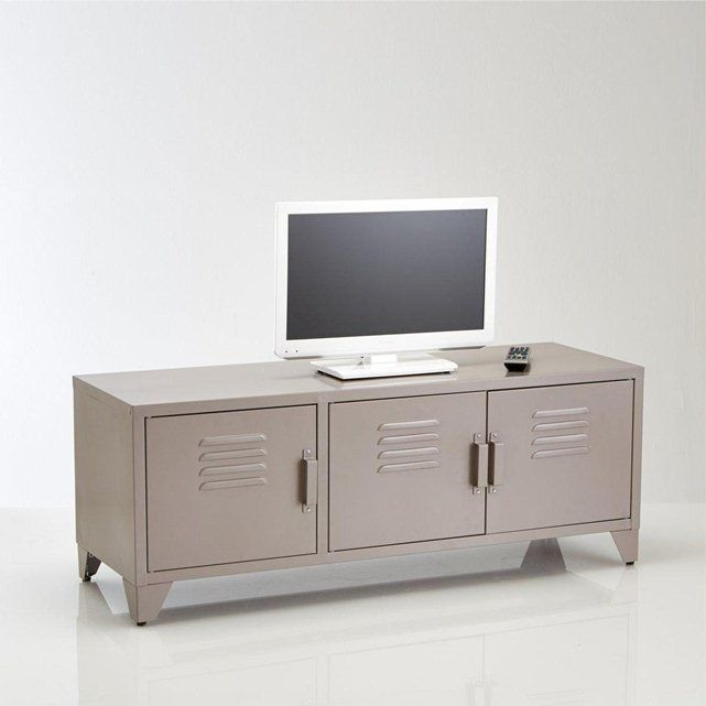Meuble TV acier style indus, 3 portes, Hiba La Redoute Interieurs