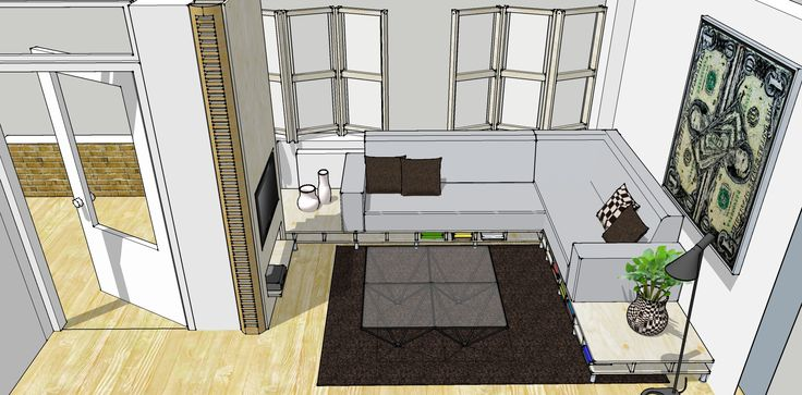 birds eye view of google sketchup plan for redecoration of my