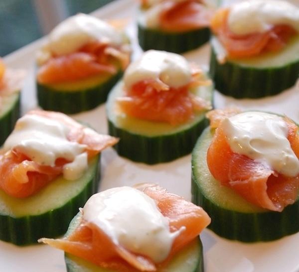 cucumber salmon bites with smoked salmon and creme fraiche (or seasoned Greek yogurt)