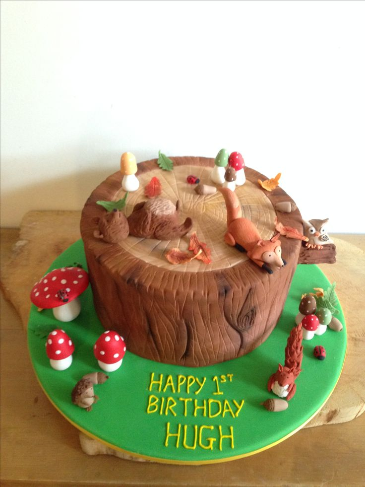 Woodland themed birthday cake. Handmade figurines