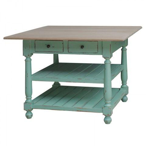 Mietowy stół idealny do kuchni i jadalni. Może tez być uzyty jako wyspa kuchenna. Stół składa się z dwóch półek i dwóch szuflad. Mebel jest wykonywany ręcznie na zamówienie.