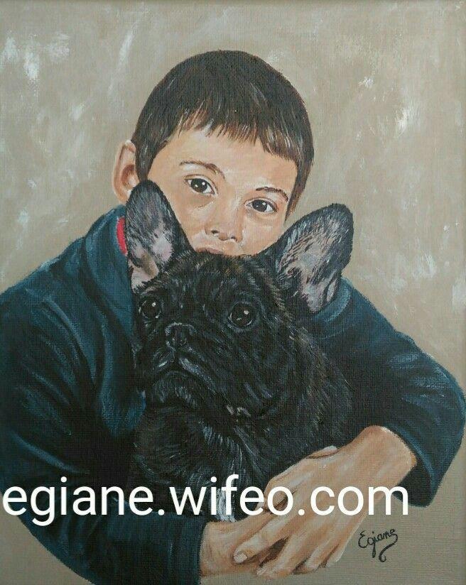 peinture acrylique sur toile de lin 24x30cm bouledogue fran ais artiste peintre peintre. Black Bedroom Furniture Sets. Home Design Ideas