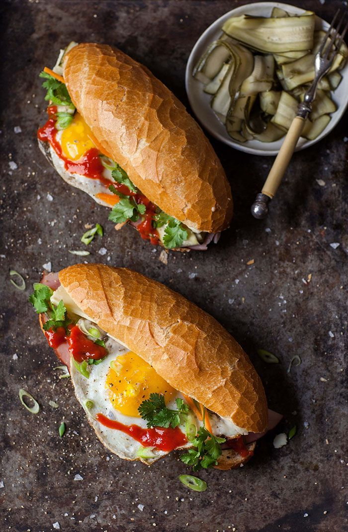 Banh mi with fried egg
