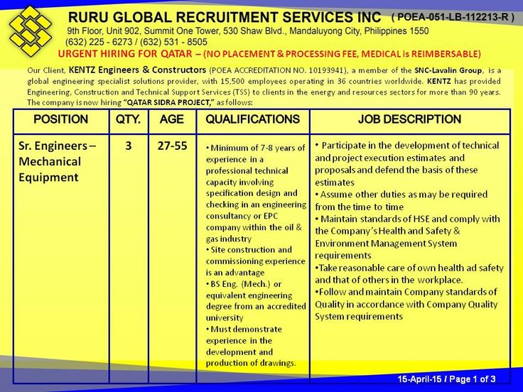 URGENT HIRING FOR QATAR (NO PLACEMENT & PROCESSING FEE