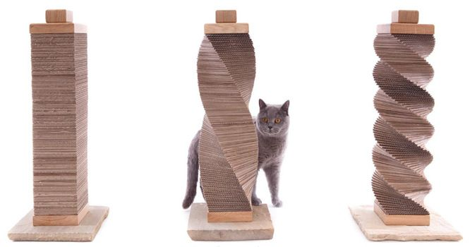 DIY cat scratcher made from cardboard. Really easy way to make a scratcher with a variety of looks. Should also work with sisal-cover only with less flexibility. (Cool Easy)