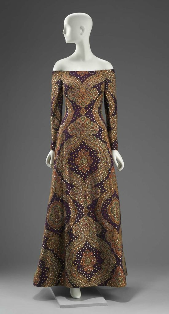 1990, America - Woman's dress by Arnold Scaasi - Wool plain weave, printed; synthetic plain weave (organza); silk plain weave; sequins