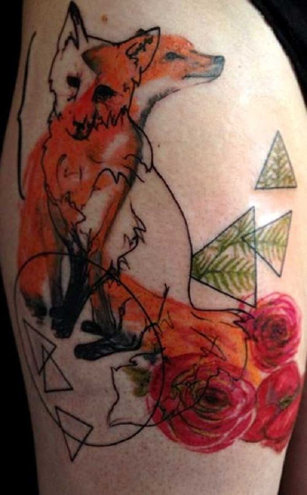 Fox Tattoo with Flowers and Spirit. To enhance the meaning of tattoos, they are coupled with the the different elements like flowers, trees and different shapes. You can also couple your creativity with the fox tattoo and get the best out of it.