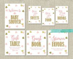 Pink and Gold Baby Shower Signs Package Bundle 7 Table Signs . Pink Baby Shower Decorations . Printable Instant Download . Baby Girl Shower