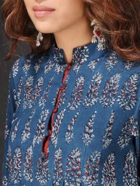 Indigo-White Natural-dyed Dabu-printed Pleated Cotton Kurta by Jaypore