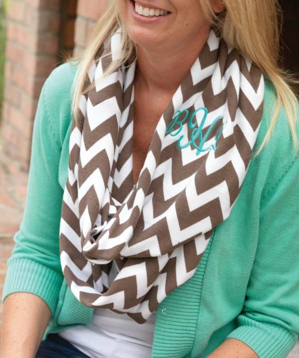 LOVE~~Taupe Chevron Monogrammed Infinity Scarf  Link to website has a bunch of cute clothes!!