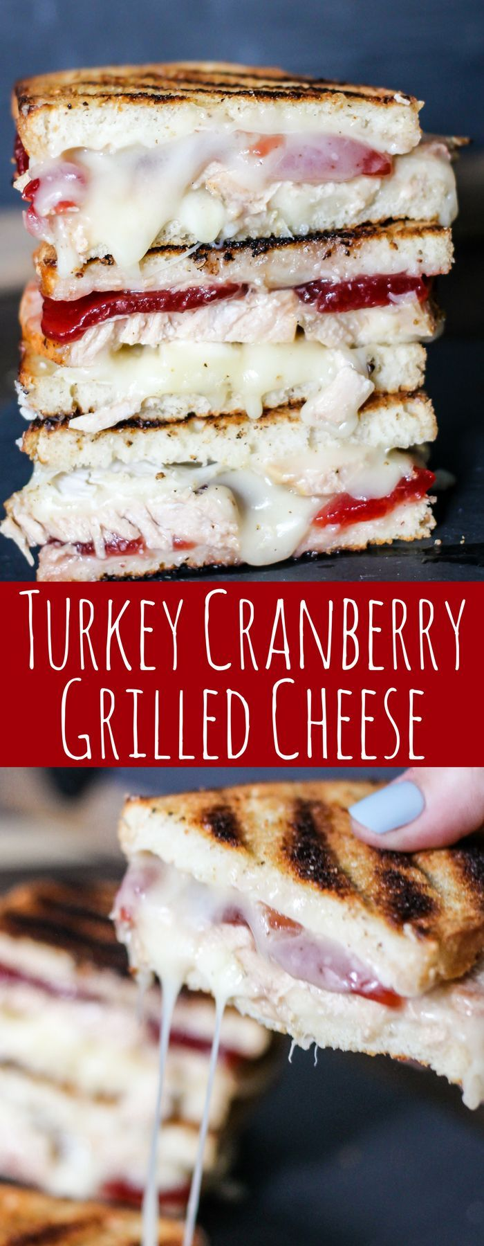 Turkey Cranberry Grilled Cheese is the ULTIMATE Thanksgiving leftovers meal! Turkey, cranberry sauce, and two cheeses are combined for this tasty sandwich!