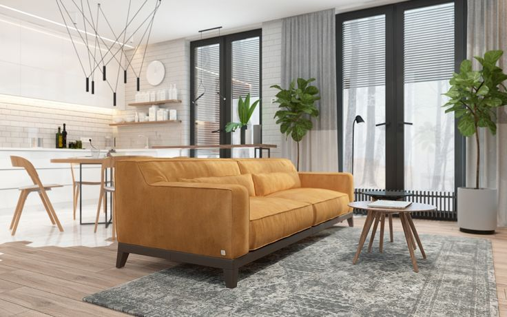 bright-nustard-couch-living-area-clean-white-kitchen-tiling-poplar-tree
