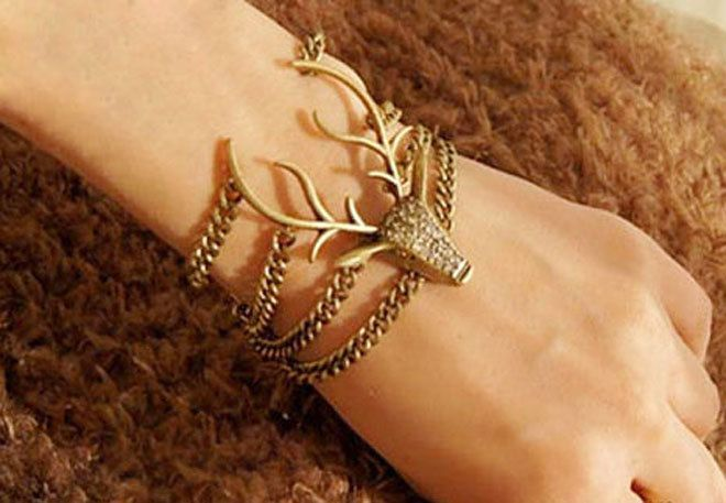 Bracelet- Antique bronze moose stag elk deer antlers chain bracelet