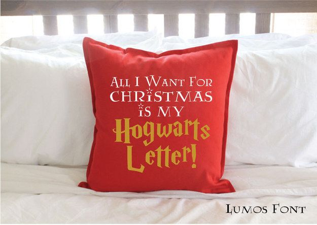 """""""All I Want for Christmas is my Hogwarts Letter!"""" Pillow Cover   18 Magical """"Harry Potter"""" Themed Christmas Decorations"""