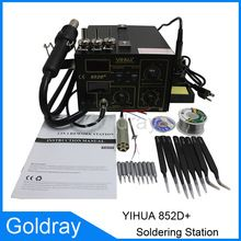 2 In 1 Soldering Station YIHUA 852D+ (Diaphragm Pump) Hot Air Gun Digital Soldering Iron SMD Rework Station with Free Gifts(China (Mainland))