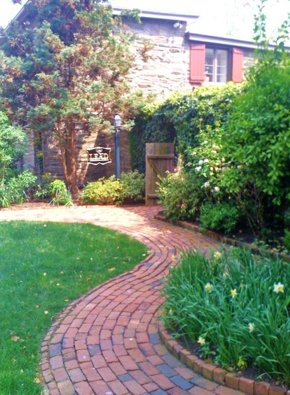 brick path with raised edge