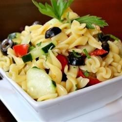 A quick and easy cold pasta salad with tomatoes, cucumbers, black olives, and a tangy Italian dressing.