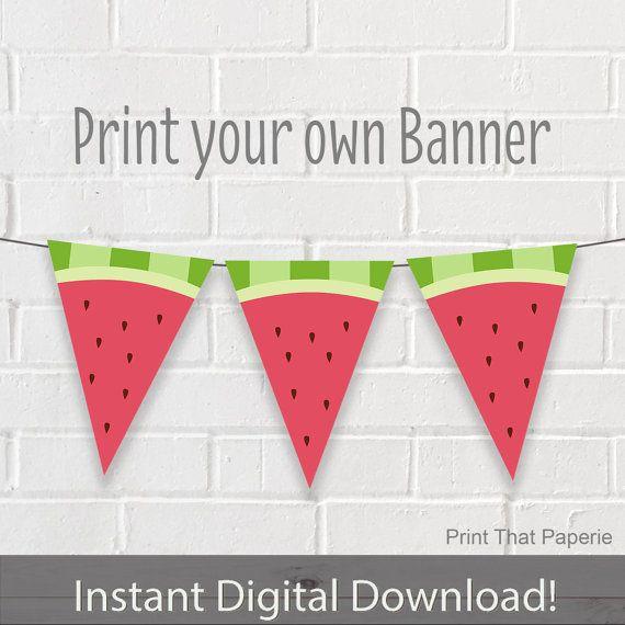 Cumpleaños bandera Banner fiesta Sandia por PrintThatPaperie