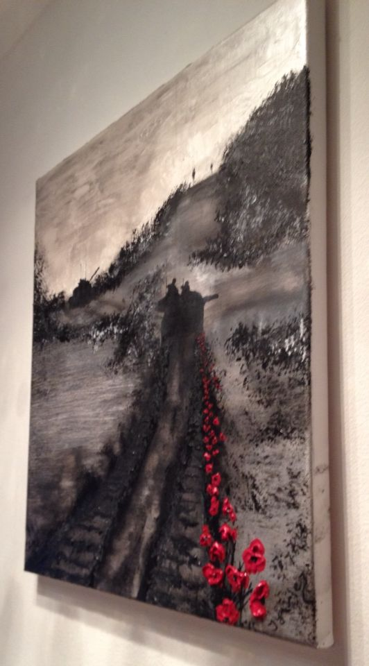 """By Jacqueline Hurley """"Tracks Of Tears"""" War Poppy Series No.5 https://www.facebook.com/pages/Port-Out-Starboard-Home-POSH-Original-Art/831105476921131"""