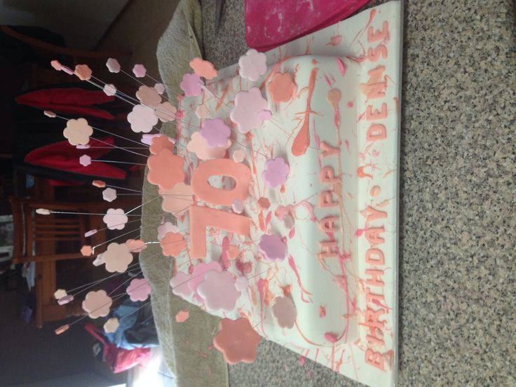 A beautiful cake for a clients mums 70th. It has various pink layers inside.