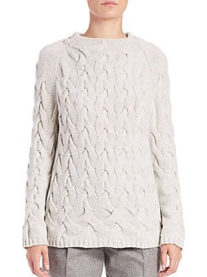 Lafayette 148 New York Cashmere Braided Cable Sweater - Grey Heather -