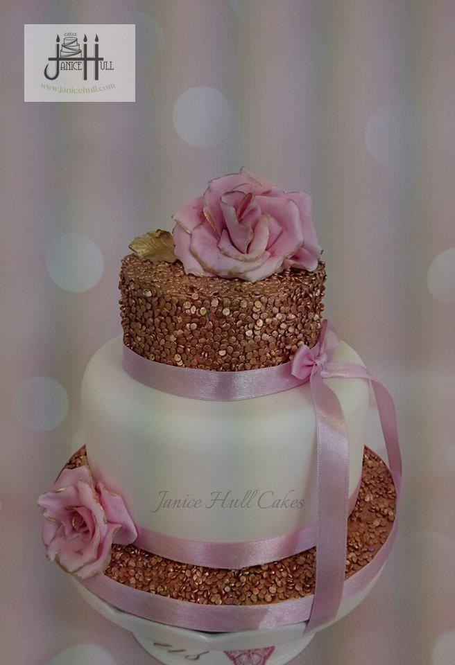 Gorgeous little pink, white and gold wedding cake, by Janice Hull Cakes www.janicehull.com