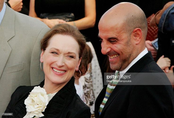 Actors Meryl Streep and Stanley Tucci share a laugh at the The Devil Wears Prada premiere at the 32nd Deauville Festival Of American Film on September 9, 2006 in Deauville, France.