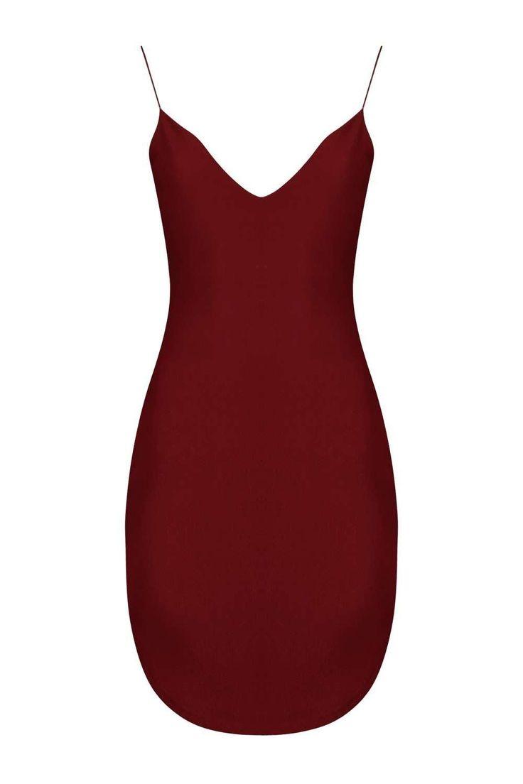 Christel Curved Hem Strappy Bodycon Dress