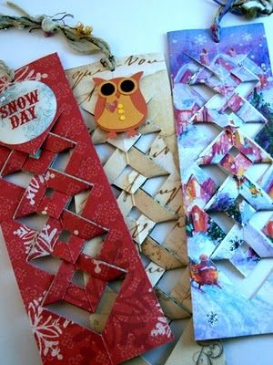 Christmas card or scrapbook paper bookmarks template at:  http://www.mootepoints.com/Projects/wovenbookmark.pdf