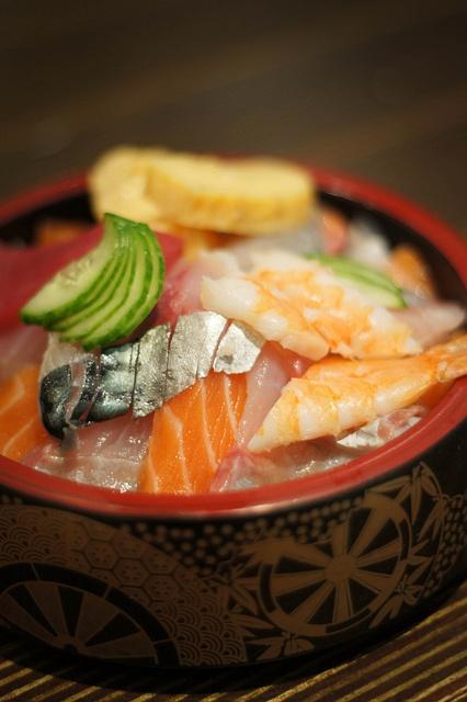 chirashi - assortment of raw fish over sushi rice